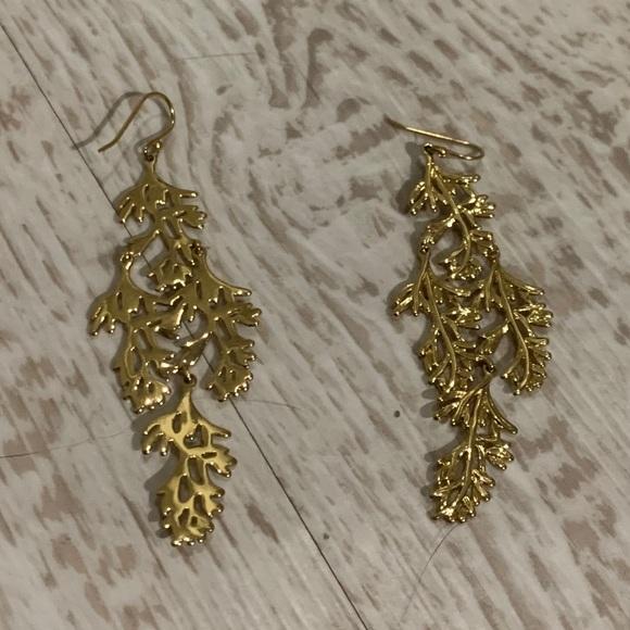 Gold leaf branch boho bohemian earrings